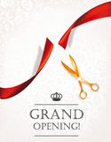Grand opening card with gold scissors Stock Photography