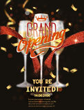 Grand Opening card with red abstract ribbon and glasses with champagne Stock Images