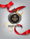 Grand opening card with red ribbon and scissors Royalty Free Stock Photography