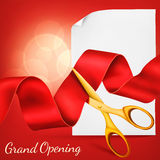 Grand opening card with scissors,red ribbon, paper scroll template. Royalty Free Stock Photography
