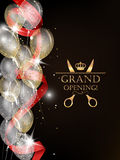 Grand opening card with shiny confetti, red ribbon and air balloons Royalty Free Stock Photos