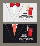 Grand opening cards with the man's suit on the background. Flat vector illustration Stock Images