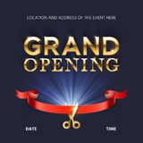 Grand opening ceremonial vector background with gold lettering. Ceremony open with red ribbon illustration Royalty Free Stock Photos