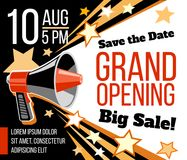 Grand opening ceremonial vector concept with megaphone. Announcement open event invitation illustration Stock Image
