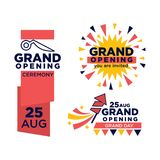 Grand opening ceremony on 25 august emblems set. Big thick signs with red ribbon, scissors outline and firework rocket and sparkles isolated vector Stock Photo