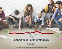 Grand Opening Ceremony Business Join Concept. Business People Grand Opening Ceremony Royalty Free Stock Image