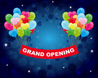 Grand opening. Colorful balloons with grand opening banner on a blue background.EPS file available Royalty Free Stock Image