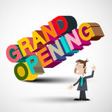 Grand Opening Colorful 3D Title with Man Stock Images