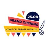 Grand opening, come celebrate with us on 25 August. Promotional poster with bright stripes, scissors outline and colorful geaometrical shapes isolated vector Royalty Free Stock Images