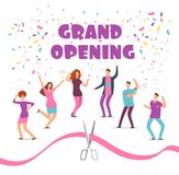 Grand opening concept with happy dancing people at party and red ribbon with scissors cartoon vector illustration vector illustration