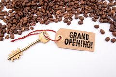 Grand opening concept. Key and a note stock photo