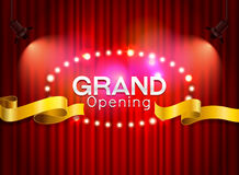 Grand opening cutting red ribbon on curtain with spot light back. Ground vector illustration Stock Photography
