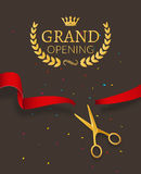 Grand Opening design template with ribbon and scissors. Grand open ribbon cut concept. Stock Image