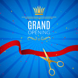 Grand Opening design template with ribbon and scissors. Grand open ribbon cut concept. Royalty Free Stock Image
