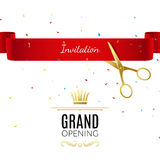 Grand Opening design template with ribbon and scissors. Grand open ribbon cut concept. Stock Photo