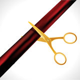 Grand Opening design template with ribbon and scissors. Grand open ribbon cut concept isolated. Stock Image