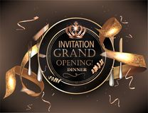 Grand opening dinner invitation card with cold confetti, plate and cutlery. Vector illustration vector illustration