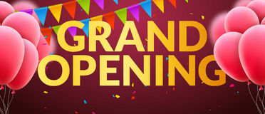 Grand Opening event invitation banner with balloons and confetti. Golden words grand opening poster template design.  Stock Photography