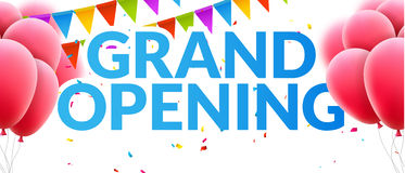Grand Opening event invitation banner with balloons and confetti. Grand Opening poster template design Royalty Free Stock Image