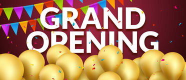Grand Opening event invitation banner with golden balloons and confetti. Grand Opening poster template design Stock Photography