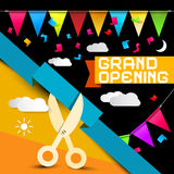 Grand Opening - Flags with Confetti Stock Images