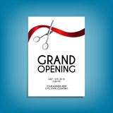 Grand opening flyer mock-up with silver scissors cutting red ribbon Stock Image