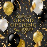 Grand opening - glitter gold logo with flourishes ornamental elements surrounded by golden foil confetti and balloons vector illustration