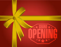 Grand opening gold gift ribbon Royalty Free Stock Images