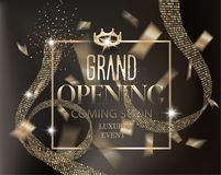 Grand opening gold invitation card with curly ribbons with pattern and confetti. Royalty Free Stock Image