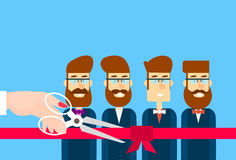 Grand Opening Hand With Scissors Cut Red Ribbon Bow Business Team Staff Presentation Stock Photo