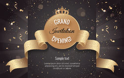 Grand opening horizontal banner. Text with confetti and curving Stock Image
