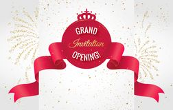 Grand opening horizontal banner. Text with  firework and curving ribbon. Gold sparkles.  Elegant style.   Vector Illustration Royalty Free Stock Image