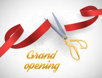 Grand opening illustration with red ribbon and gold scissors  on white. Stock Photos