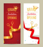 Grand Opening invitation banner. Golden and red Ribbon cut ceremony event. Grand opening celebration card Royalty Free Stock Photo