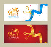 Grand Opening invitation banner. Golden Ribbon and blue ribbon cut ceremony event. Grand opening celebration card Royalty Free Stock Photography
