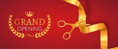 Grand Opening invitation banner. Golden Ribbon cut ceremony event. Grand opening celebration card.  stock illustration