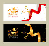 Grand Opening invitation banner. Golden Ribbon and red ribbon cut ceremony event. Grand opening celebration card.  vector illustration