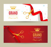 Grand Opening invitation banner. Red Ribbon cut ceremony event. Grand opening celebration card.  Stock Photos