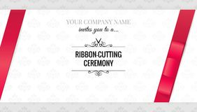 Grand opening invitation card with bows. Stock Photo