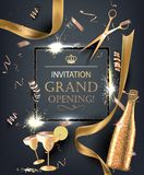 Grand opening invitation card with golden objects. Vector illustration Royalty Free Stock Image