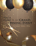 Grand opening invitation with curly ribbon, scissors and gold and black air balloons. Royalty Free Stock Image