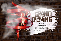 Grand opening invitation with curly ribbon, scissors , whihe smoke and brick wall on the background. Stock Photography