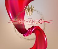 Grand Opening invitation red card with red silk fabric. Vector illustration royalty free illustration