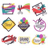 Grand opening isolated icons ribbon and scissors balloons and confetti. Ribbon and scissors balloons and confetti grand opening isolated icons vector event stock illustration