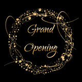 Grand opening lettering. Sparkling banner with gold sparkles. Text composition with golden paint dots splashes.. Elegant Stock Images