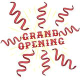 Grand opening lettering vector illustration with ribbons. vector illustration
