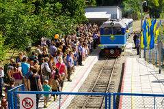 The grand opening of a local children's railway in Uzhgorod Stock Image