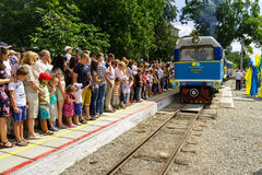 The grand opening of a local children's railway in Uzhgorod Stock Images