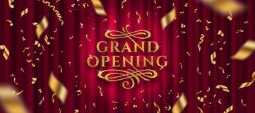 Grand opening logo. Golden foil confetti and glitter gold logo with flourishes ornamental elements on a red curtain background. royalty free illustration