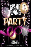 Grand opening Party invitation card with letters shaped air balloons, shiny serpentine. Vector illustration Stock Photos